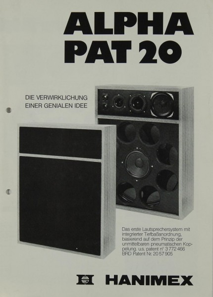 Hanimex Alpha Pat 20 Prospekt / Katalog