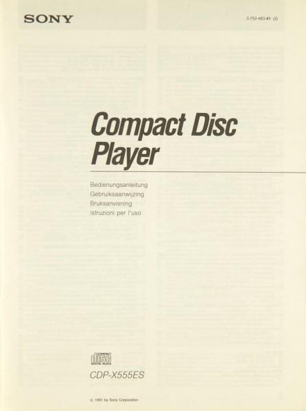 Sony CDP-X 555 ES Bedienungsanleitung