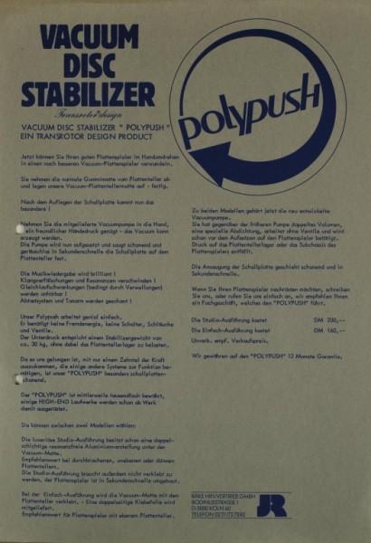 JR Transrotor Polypush - Vacuum Disc Stabilizer Prospekt / Katalog