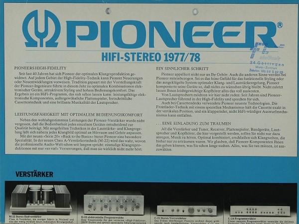 Pioneer Hifi Stereo 1977 / 78 Prospekt / Katalog