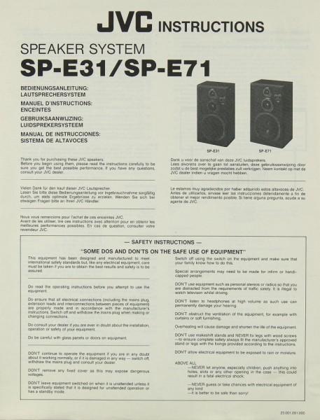 JVC SP-E 31 / SP-E 71 Bedienungsanleitung