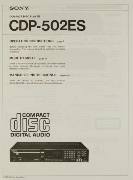 Sony CDP-502 ES Bedienungsanleitung