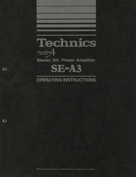 Technics SE-A 3 Bedienungsanleitung