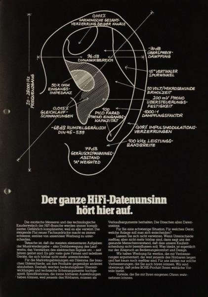 Bose Der ganze HiFi-Datenunsinn hört hier auf. Prospekt / Katalog