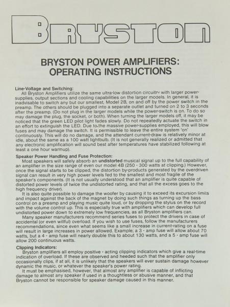 Bryston 2 B Bedienungsanleitung