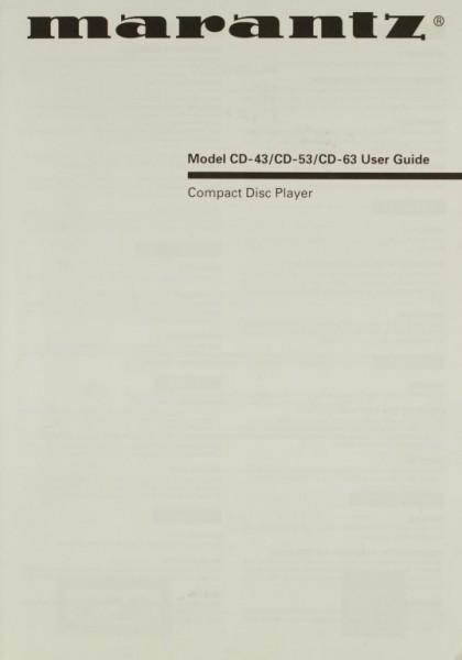 Marantz Model CD-43 / CD-53 / CD-63 Bedienungsanleitung