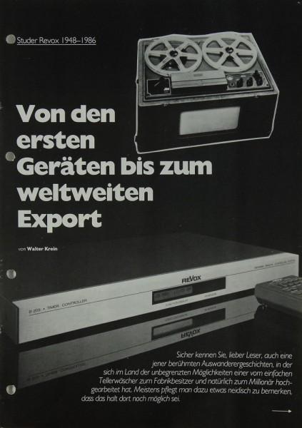 Revox Von den ersten Geräten bis zum weltweiten Export Prospekt / Katalog