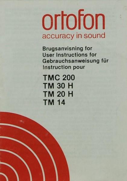 Ortofon TMC 200 / TM 30 H / TM 20 H / TM 14 Bedienungsanleitung