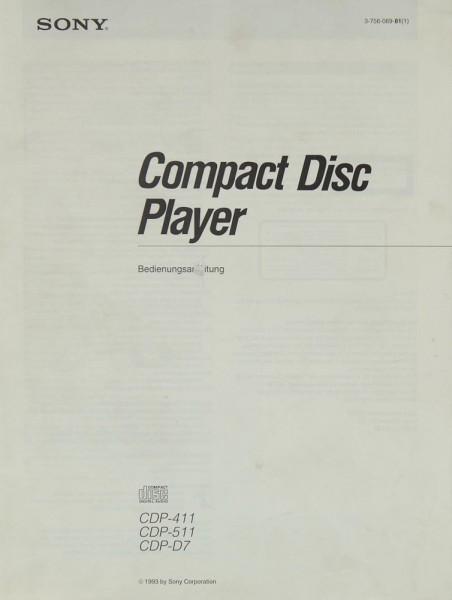 Sony CDP-411 / CDP-511 / CDP-D 7 Bedienungsanleitung