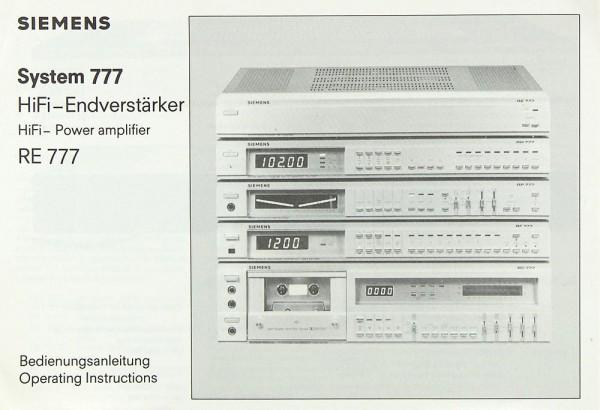 Siemens RE 777 Bedienungsanleitung