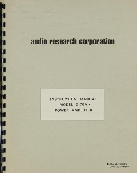 Audio Research D-76 A Bedienungsanleitung