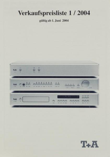 T + A Verkaufspreisliste 1/2001 Prospekt / Katalog