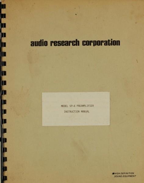 Audio Research Model SP-6 Bedienungsanleitung