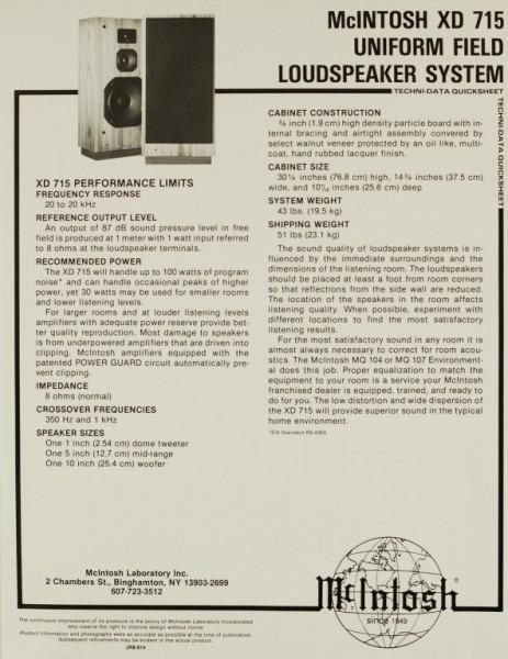 McIntosh XD 715 Prospekt / Katalog