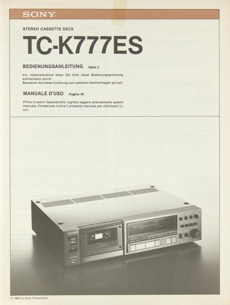 Sony TC-K 777 ES Bedienungsanleitung