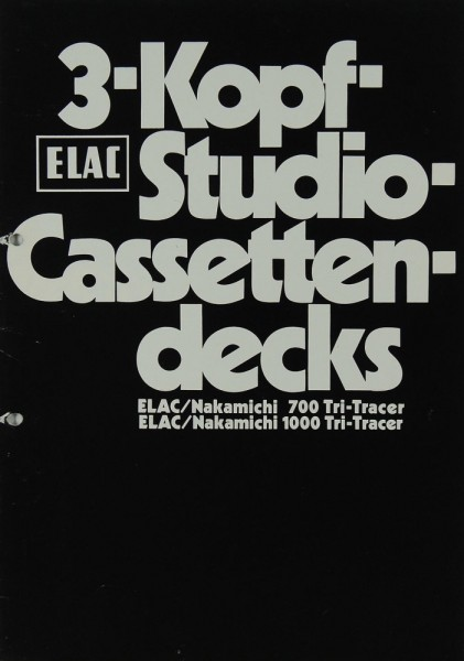 Elac 3-Kopf-Studio-Cassettendecks Prospekt / Katalog