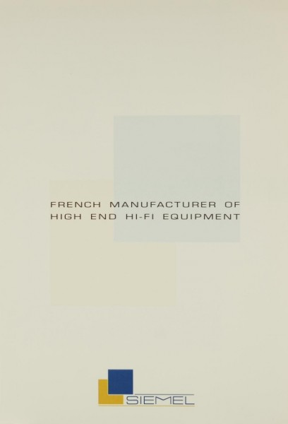 Siemel French Manufacturer of High End Equipment Prospekt / Katalog