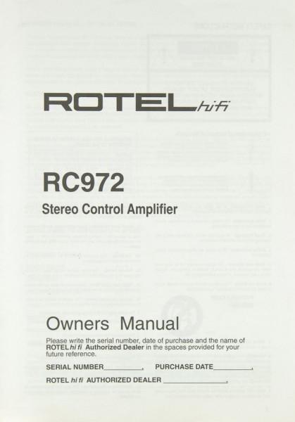 Rotel RC 972 Bedienungsanleitung