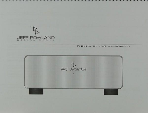 Jeff Rowland Model 501 Bedienungsanleitung
