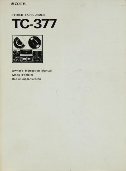 Sony TC-377 Bedienungsanleitung