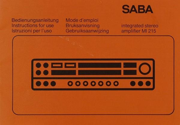 Saba MI 215 Bedienungsanleitung