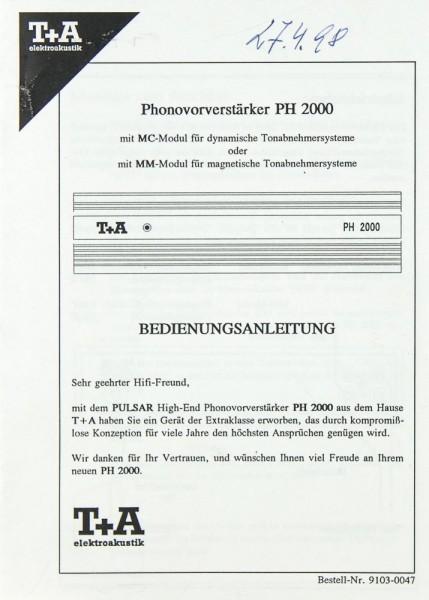 T + A PH 2000 Bedienungsanleitung