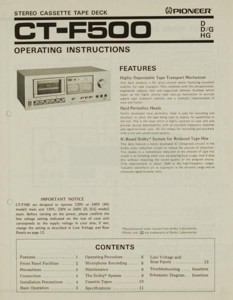Pioneer CT-F 500 Bedienungsanleitung