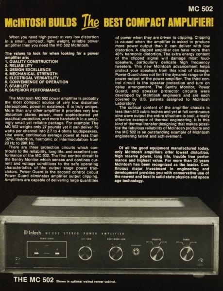 mcintosh mc 502 brochure catalogue power amplifiers mcintosh