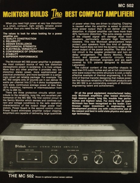 McIntosh MC 502 Prospekt / Katalog