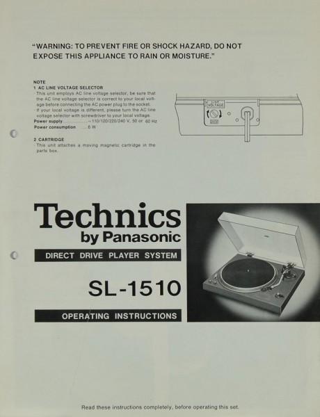 Technics SL-1510 Bedienungsanleitung
