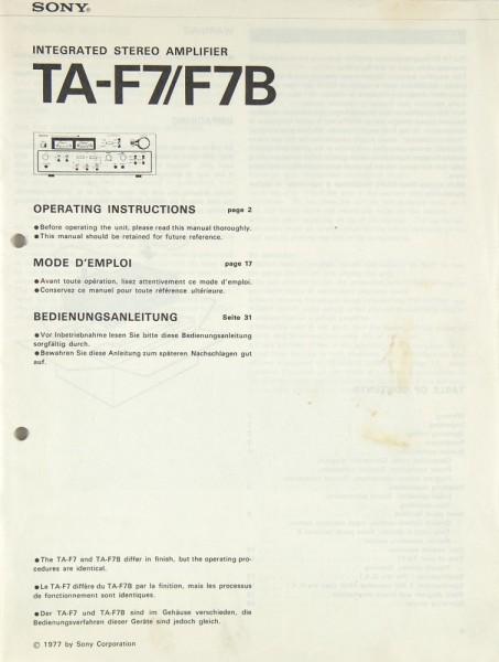 Sony TA-F 7 / TA-F 7B Bedienungsanleitung