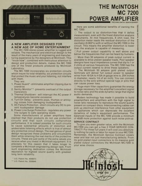 McIntosh MC 7200 Prospekt / Katalog