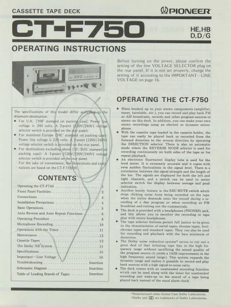 Pioneer CT-F 750 Bedienungsanleitung