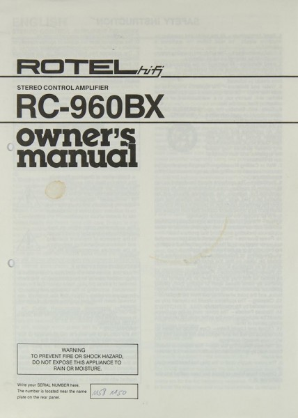 Rotel RC-960 BX Bedienungsanleitung