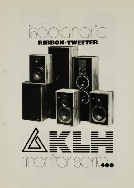 KLH Monitor Serie 400 - Isoplanaric Ribbon-Tweeter Prospekt / Katalog