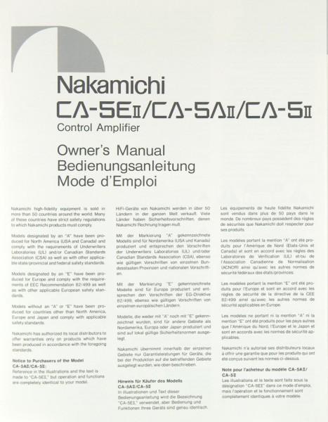 Nakamichi CA-5 E II / CA-5 A II / CA-5 II Bedienungsanleitung