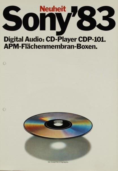 Sony Sony ´83 - CDP-101 / APM-Boxen Prospekt / Katalog