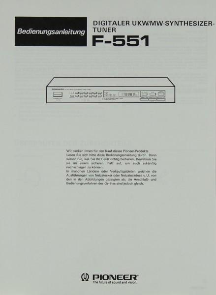 Pioneer F-551 Bedienungsanleitung