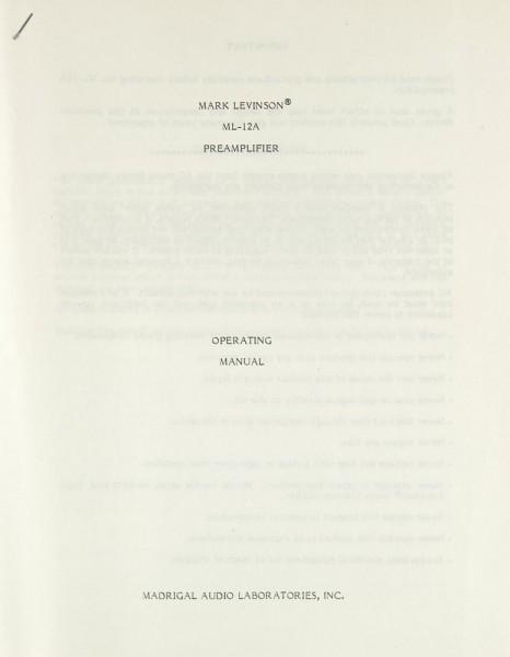 Mark Levinson ML-12 A Bedienungsanleitung