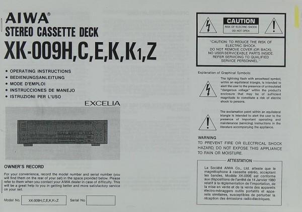 Aiwa XK-009 H/C/E/K/K1/Z Bedienungsanleitung