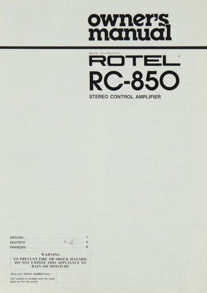 Rotel RC-850 Bedienungsanleitung