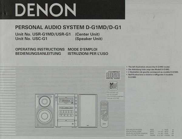 Denon D-G 1 MD / D-G 1 (USR-G 1 MD / USR-G 1 / USC-G 1) Bedienungsanleitung