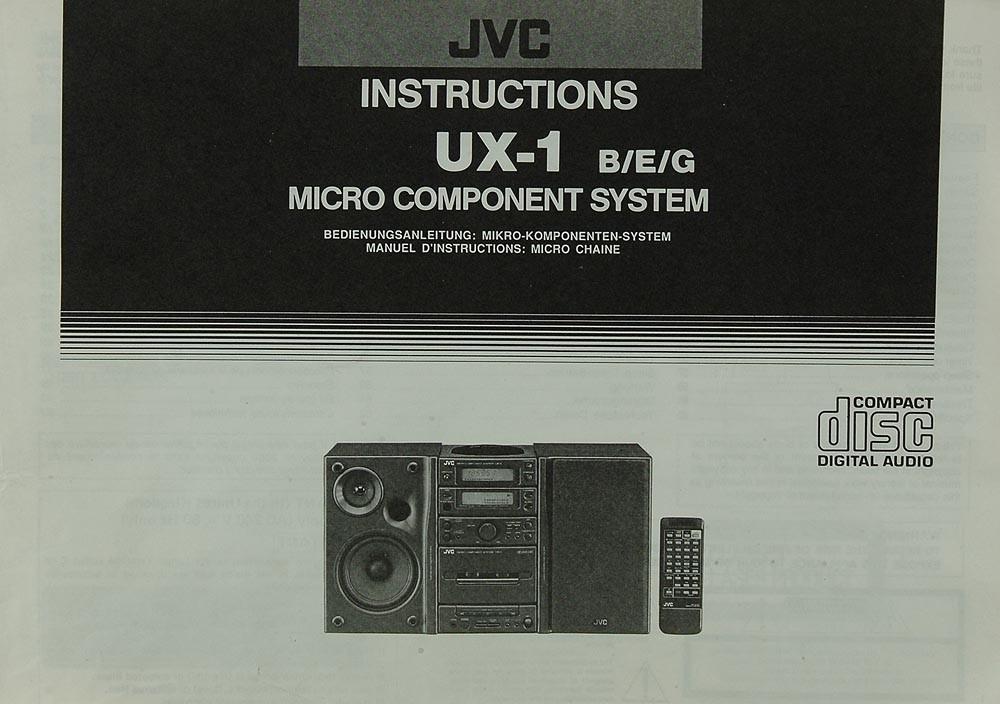 JVC UX-1 B/E/G Bedienungsanleitung | Komplettanlagen | JVC ...