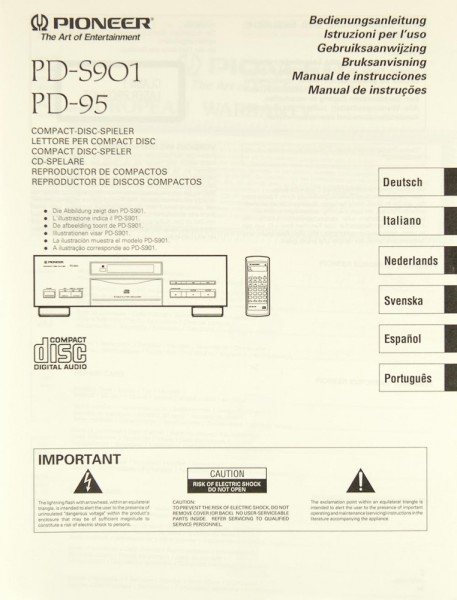 Pioneer PD-S 901,/ PD-95 Bedienungsanleitung