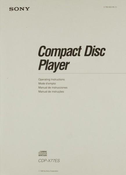 Sony CDP-X 77 ES Bedienungsanleitung