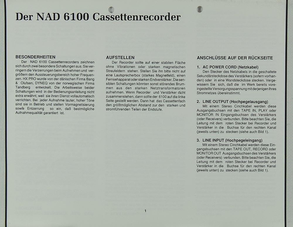 NAD 6100 Manual | Cassette Decks | NAD | Manuals | Hifi Literature ...