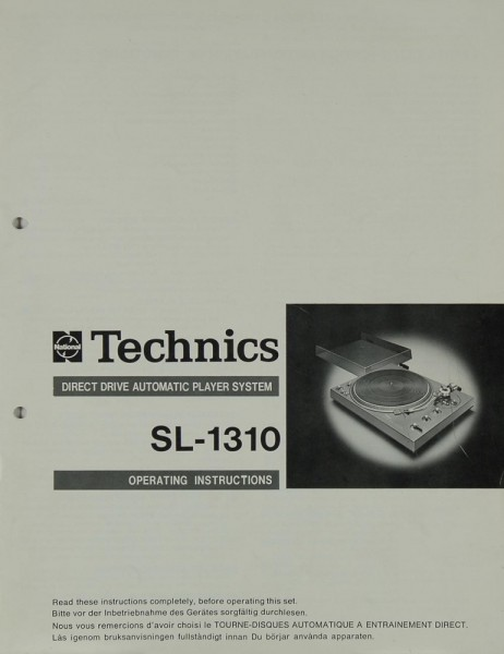 Technics SL-1310 Manual | Turntables | Technics | Manuals