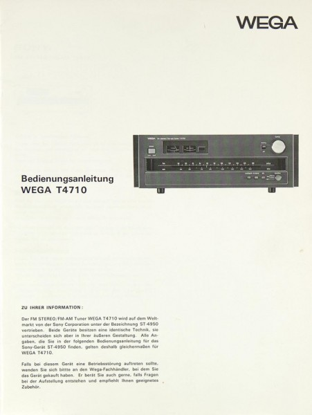 Wega T 4710 Bedienungsanleitung