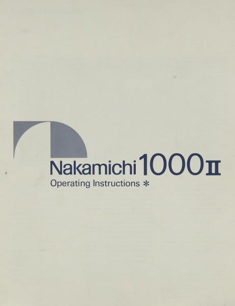 Nakamichi 1000 II Bedienungsanleitung