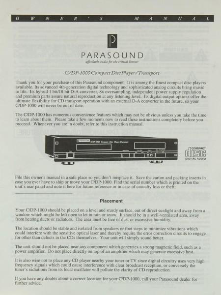 Parasound C/DP-1000 Bedienungsanleitung